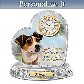 Jack Russell Terrier Crystal Heart Personalized Clock