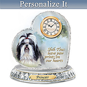 Shih Tzu Crystal Heart Personalized Clock
