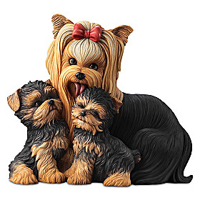 Yorkie Kisses Sculpture