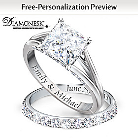 Princess Personalized Bridal Ring Set