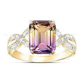Sunset Oasis Ametrine And Diamond Ring