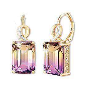 Sunset Oasis Ametrine And Diamond Earrings
