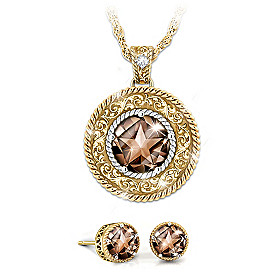 Country Star Quartz And Diamond Necklace & Earrings Set