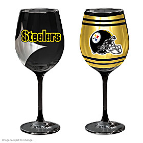 Gridiron Stars Pittsburgh Steelers Wine Glass Set