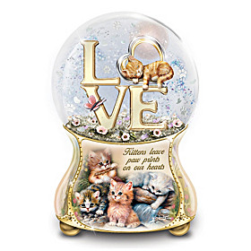 Kittens Leave Pawprints On Our Hearts Glitter Globe