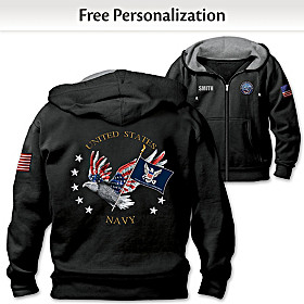 Navy Pride Personalized Men's Hoodie