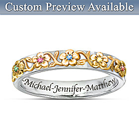 Family Grows With Love Personalized Ring