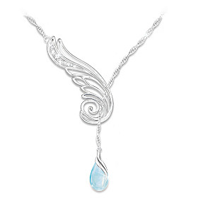 Wing Of Serenity Diamond And Topaz Pendant Necklace