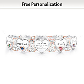 Grandma's Heart & Joy Personalized Birthstone Bracelet