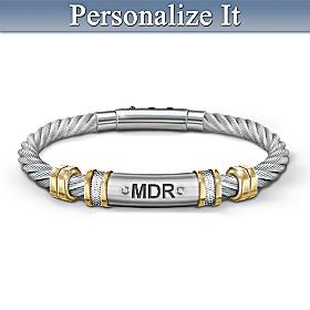 Strength For My Grandson Personalized Men's Bracelet