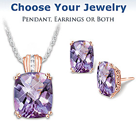 Lavender Radiance Pendant Necklace And Earrings Set