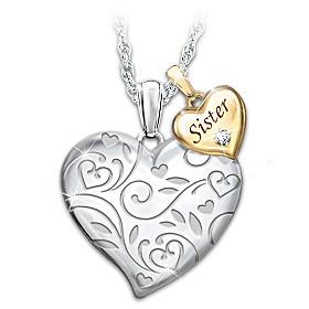 Forever My Sister Always My Friend Diamond Pendant Necklace