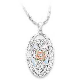 Daughter, I Love You Diamond And Crystal Pendant Necklace