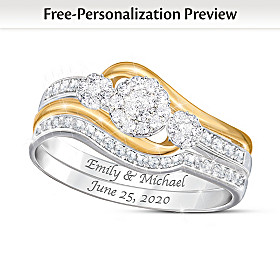 Love's Endless Embrace Personalized Diamond Ring Set