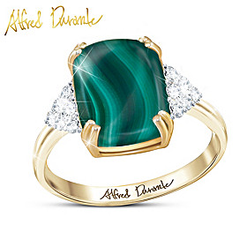 Majestic Malachite Gemstone And Diamond Ring