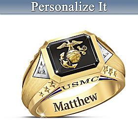 Salute To The USMC Personalized Diamond Ring