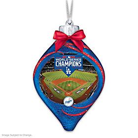 Dodgers 2020 World Series Champions Glass Ornament