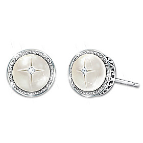God's Pearls Of Wisdom Mother-Of-Pearl And Diamond Earrings