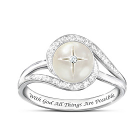 God's Pearl Of Wisdom Mother-Of-Pearl And Diamond Ring