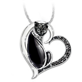 Midnight Mysticat Pendant Necklace