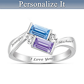 Forever Together Crystal & Diamond Personalized Ring