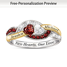 Two Hearts, One Love Personalized Ring