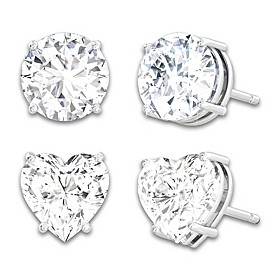 Classic Stud And Heart Shaped Earrings Set