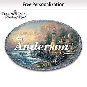 Thomas Kinkade The Light Of Peace Personalized Welcome Sign