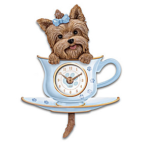 Yorkie Pup In A Cup Wall Clock