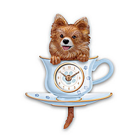 Pomeranian Pup In A Cup Wall Clock