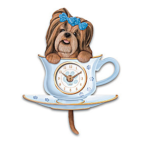 Shih Tzu Pup In A Cup Wall Clock
