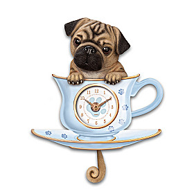 Pug Pup In A Cup Wall Clock
