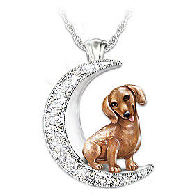 I Love My Dachshund To The Moon And Back Pendant Necklace