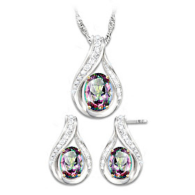 Mystic Radiance Pendant Necklace And Earrings Set
