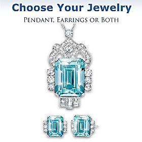 Aqua Majesty Pendant Necklace & Earrings Set