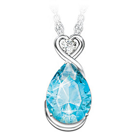 Words Of Comfort Topaz And Diamond Pendant Necklace