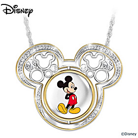 Disney Mickey Mouse Turn Through Time Pendant Necklace