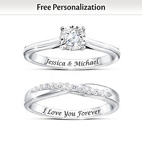 Everlasting Love Personalized Diamond Bridal Ring Set