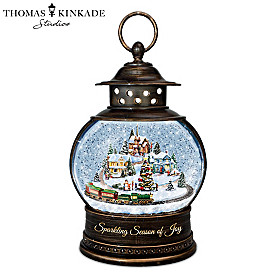 Thomas Kinkade Sparkling Season Of Joy Snowglobe Lantern