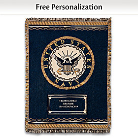 Hero's Tribute Personalized Navy Throw Blanket
