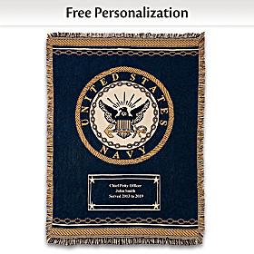 Hero's Tribute Personalized Navy Throw Blanket
