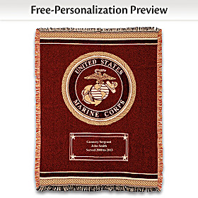 Hero's Tribute Personalized USMC Throw Blanket