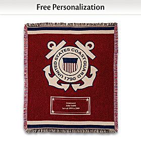 Hero's Tribute Personalized Coast Guard Throw Blanket