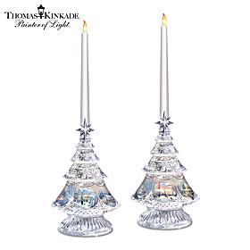 Thomas Kinkade Crystal Glow Candleholder Set
