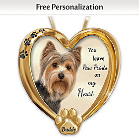 Paw Prints On My Heart Yorkie Personalized Ornament