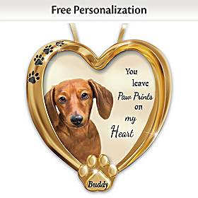 Paw Prints On My Heart Dachshund Personalized Ornament