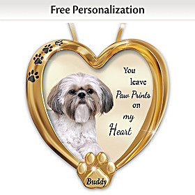 Paw Prints On My Heart Shih Tzu Personalized Ornament
