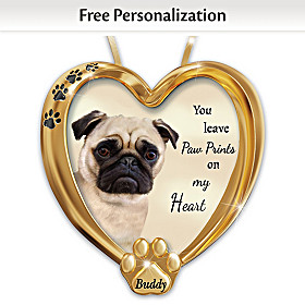 Paw Prints On My Heart Pug Personalized Ornament