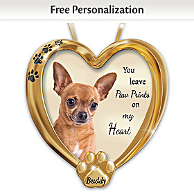 Paw Prints On My Heart Chihuahua Personalized Ornament