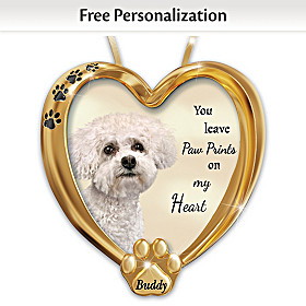 Paw Prints On My Heart Bichon Frise Personalized Ornament